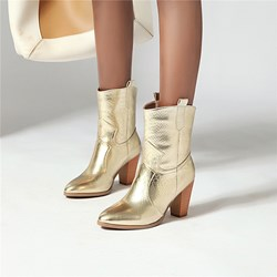 Shoespie Stylish Chunky Heel Slip-On Pointed Toe Western Boots