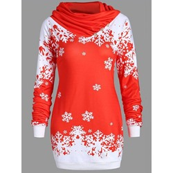 Color Block Long Sleeve Christmas Women's Hoodie