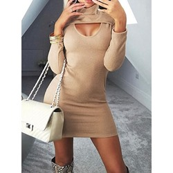 Hollow Turtleneck Long Sleeve Fall Women's Dress