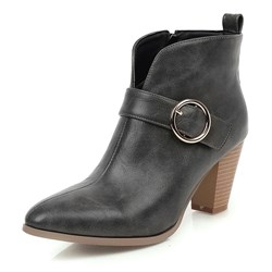 Shoespie Sexy Pointed Toe Chunky Heel Plain Side Zipper Casual Boots