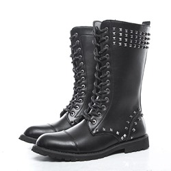 Shoespie Men's Plain Round Toe Side Zipper PU Boots