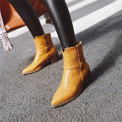 Shoespie Sexy Slip-On Pointed Toe Plain Thread Boots