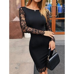Patchwork Long Sleeve Knee-Length Sweet Women's Dress