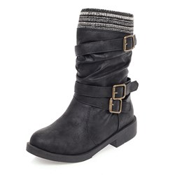 Shoespie Trendy Patchwork Round Toe Hasp Casual Boots