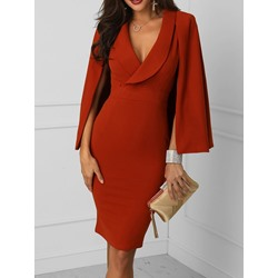 Above Knee V-Neck Long Sleeve Pullover Slim Women's Dress