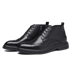 Shoespie Men's High-Cut Upper Plain Pointed Toe Leather Shoes