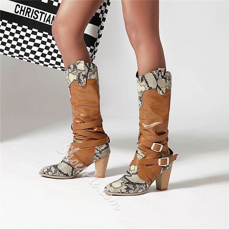 Shoespie Trendy Patchwork Slip-On Chunky Heel Western Boots