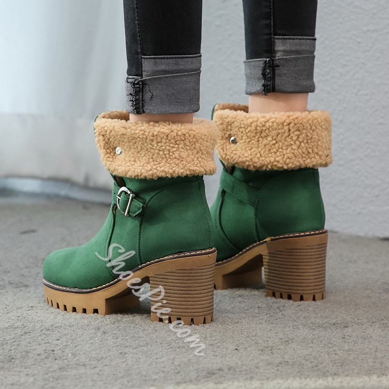 Shoespie Stylish Round Toe Hasp Chunky Heel Snow Boots