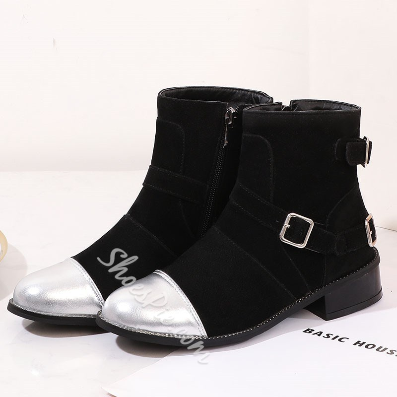 Shoespie Trendy Suede Round Toe Color Block Side Zipper Casual Boots