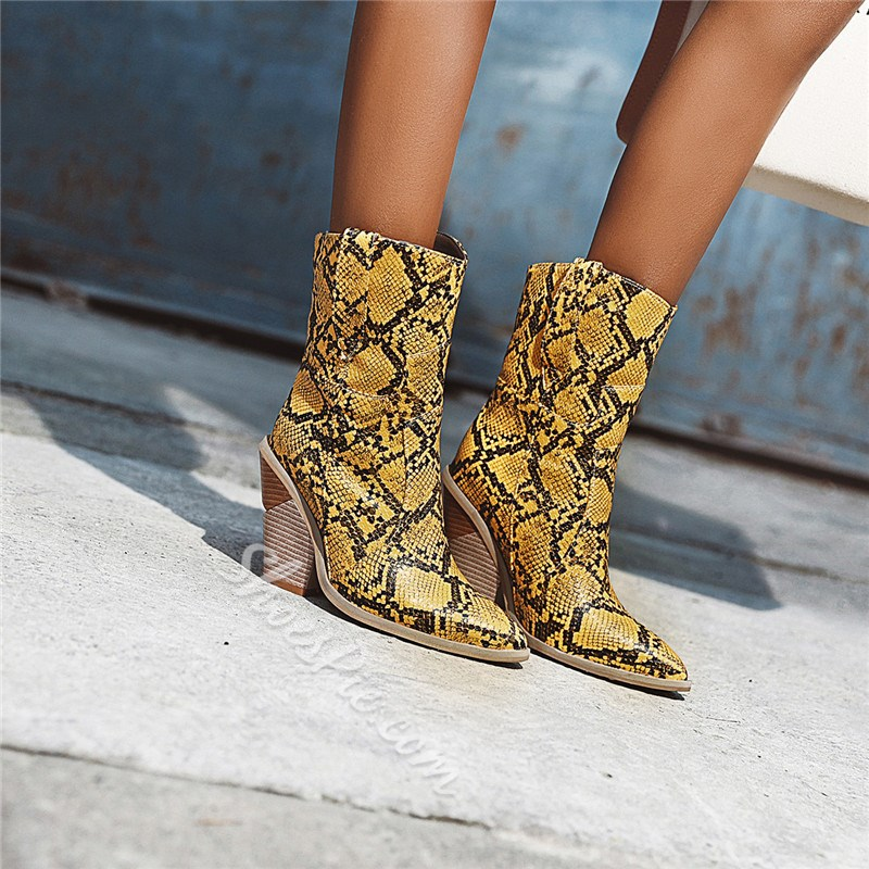 Shoespie Sexy Slip-On Pointed Toe Color Block Serpentine Boots