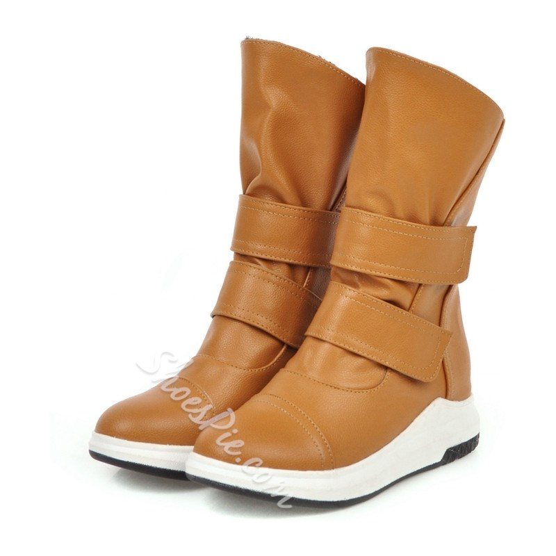 Shoespie Stylish Velcro Round Toe Plain Thread Boots