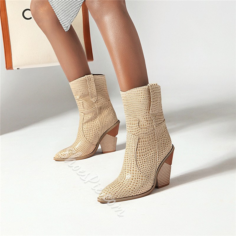 Shoespie Stylish Pointed Toe Slip-On Casual Boots