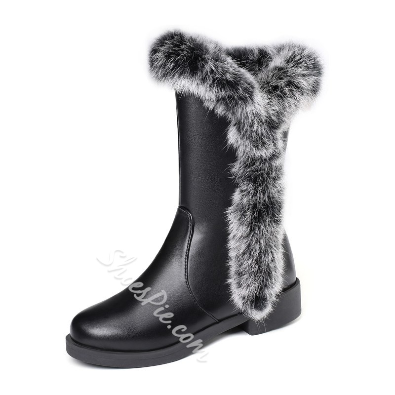 Shoespie Stylish Patchwork Round Toe Side Zipper Snow Boots