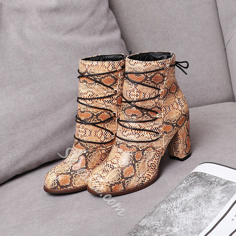 Shoespie Trendy Chunky Heel Color Block Back Zip Casual Boots