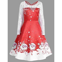 Christmas Mid-Calf Hollow Round Neck Spring Women's Dress