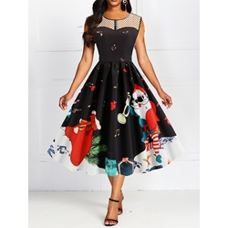 Christmas Round Neck Sleeveless Mid-Calf Pullover Women's Dress