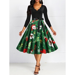 Christmas V-Neck Mid-Calf Cartoon Women's Dress