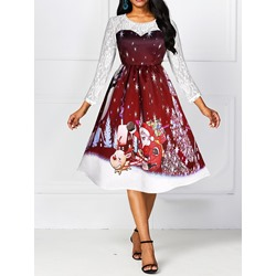 Christmas Round Neck Hollow Regular Women's Dress