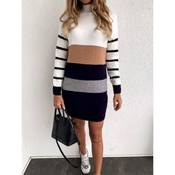 Above Knee Patchwork Long Sleeve Pullover Sweater Women's Dress