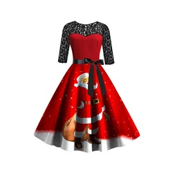 Christmas Print Mid-Calf Round Neck Regular Women's Dress