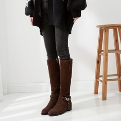Shoespie Sexy Round Toe Plain Side Zipper PU Boots