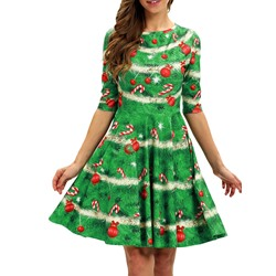 Christmas Half Sleeve Above Knee Round Neck A-Line Women's Dress