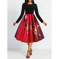 Christmas Mid-Calf Party/Cocktail Women's Dress