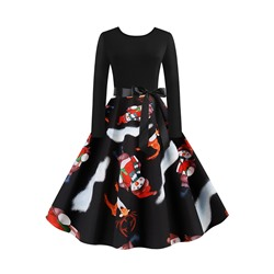 Christmas Print Regular Mid-Calf Round Neck Women's Dress