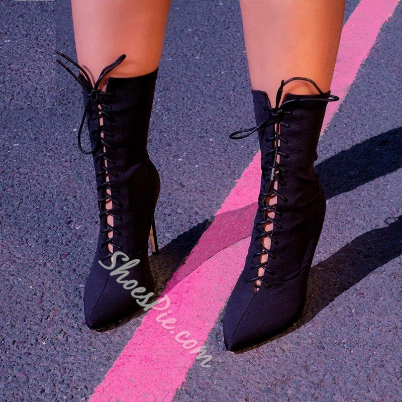 Shoespie Trendy Plain Pointed Toe Cross Strap Boots