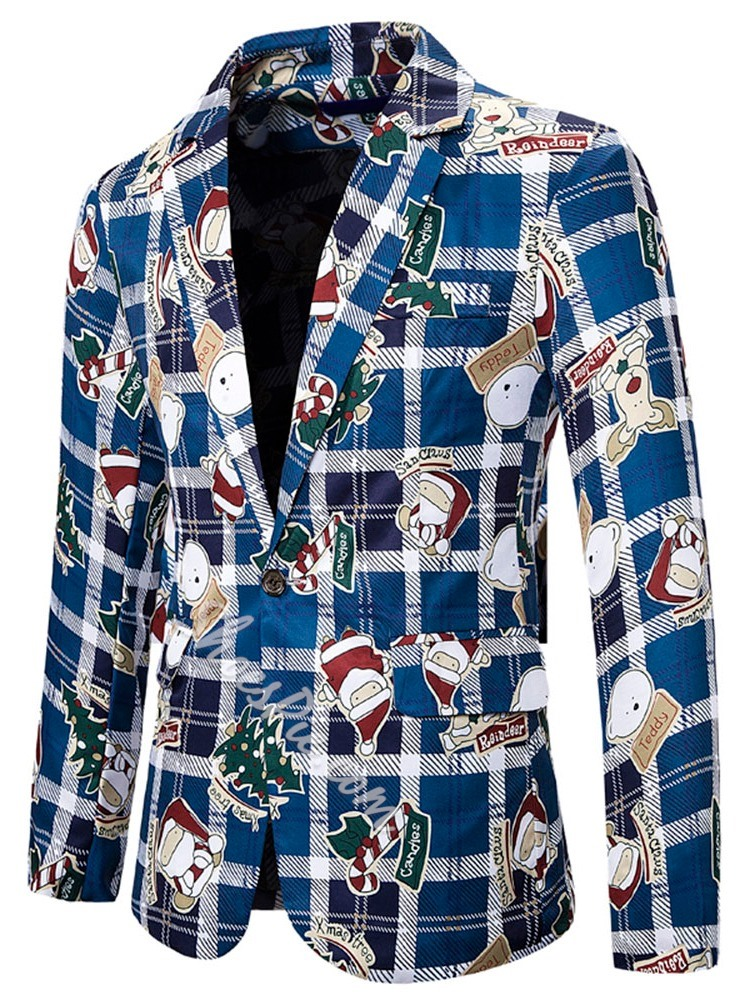 Slim Color Block Print Leisure Blazer