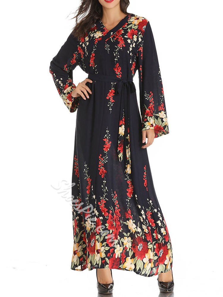 Christmas Long Sleeve V-Neck Print A-Line Women's Dress