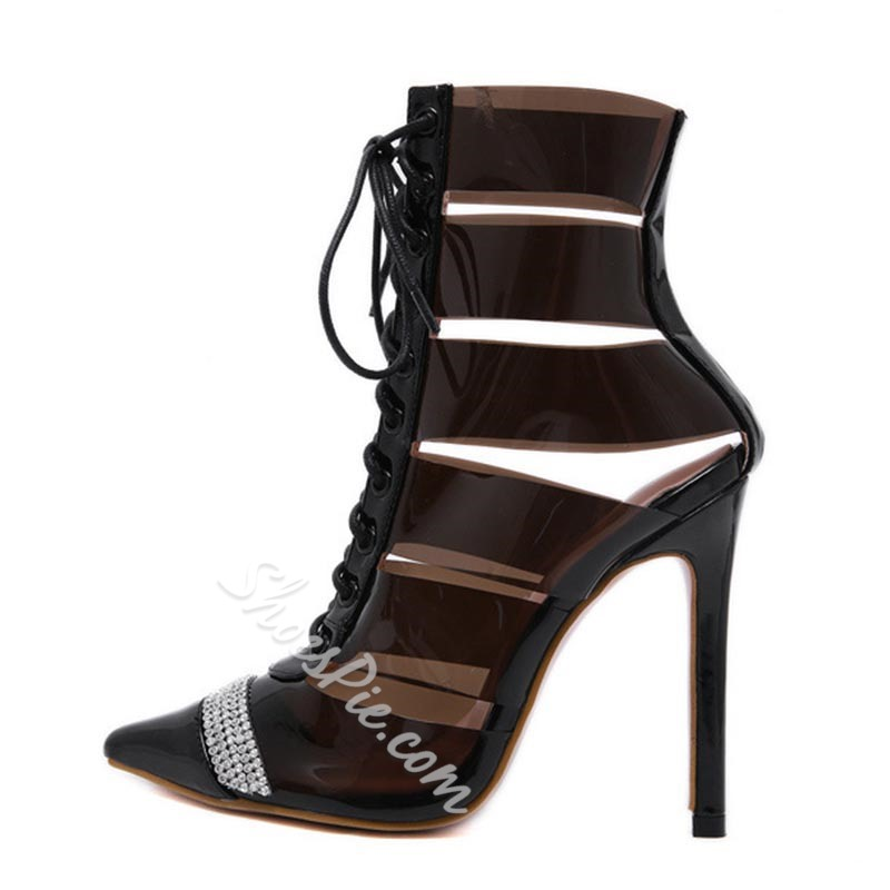 Shoespie Trendy Lace-Up Front Pointed Toe Western Boots