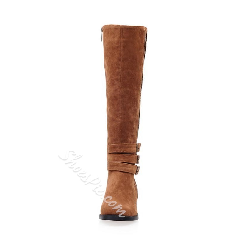 Shoespie Sexy Plain Block Heel Round Toe Casual Boots