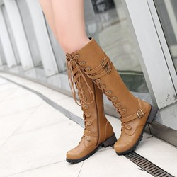 Shoespie Stylish Side Zipper Block Heel Round Toe Cotton Boots