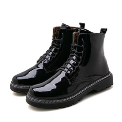 Shoespie Men's Round Toe Plain Side Zipper PU Boots