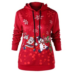 Christmas Cartoon Regular Mid-Length Women's Hoodie