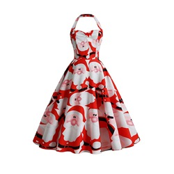 Christmas Sleeveless Print Mid-Calf Mid Waist Women's Dress