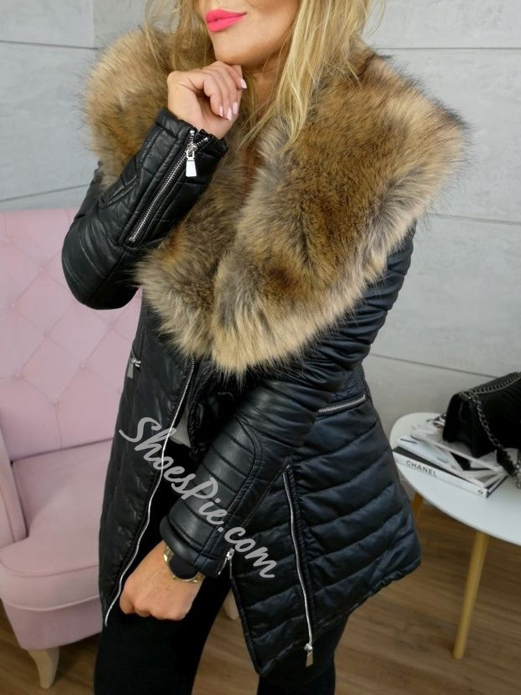 Loose Faux Fur Mid-Length Women's Cotton Padded Jacket
