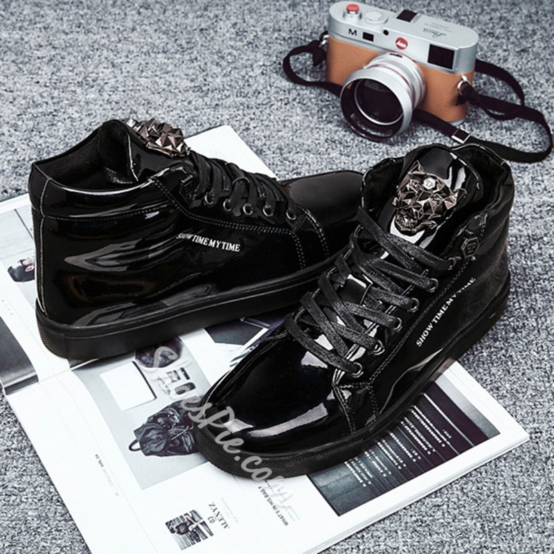 Shoespie Men's Flat With Lace-Up High-Cut Upper Round Toe Skate Shoes