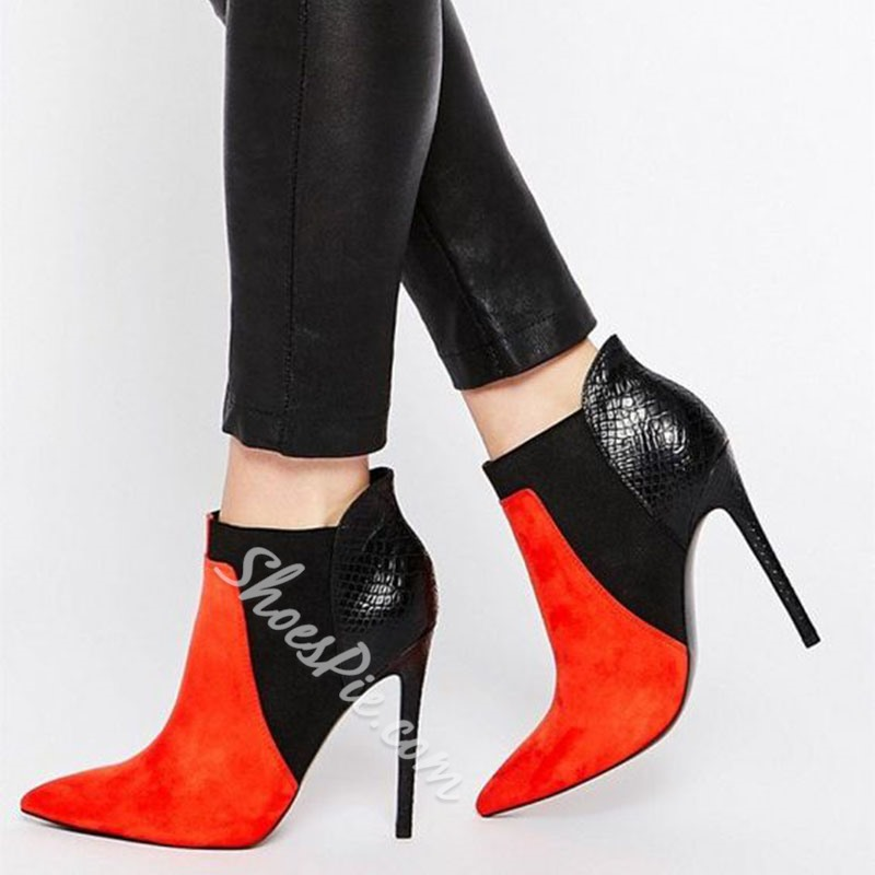 Shoespie Sexy Color Block Stiletto Heel Pointed Toe Casual Boots