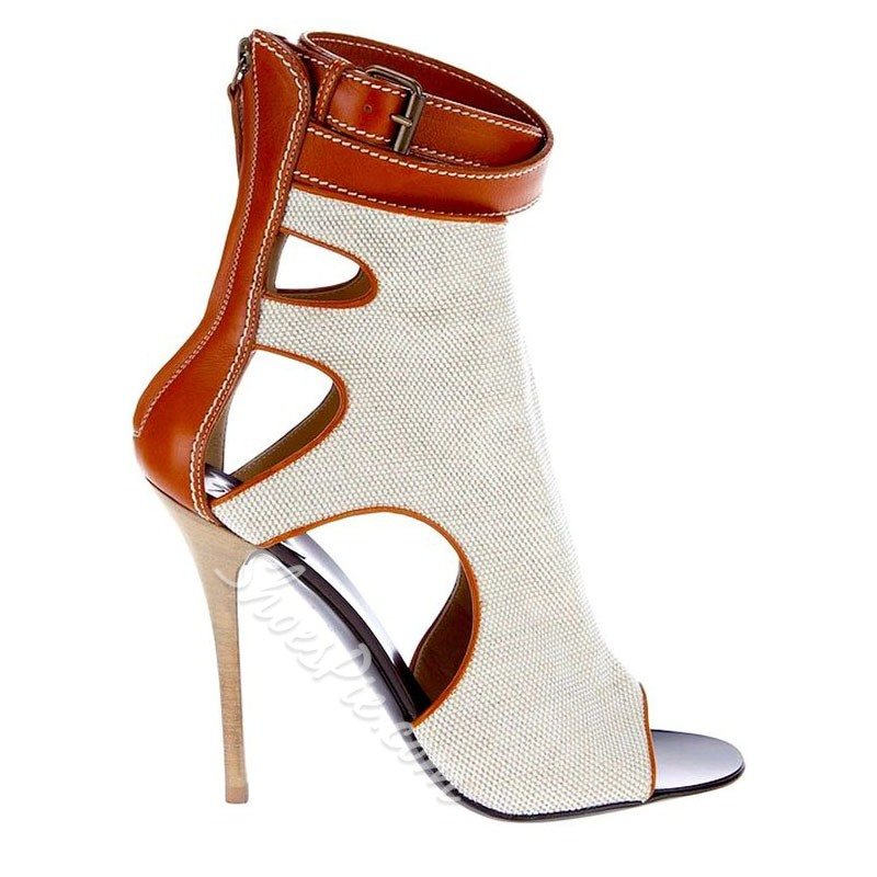 Shoespie Sexy Color Block Stiletto Heel Buckle Boots