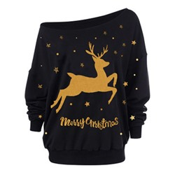 Animal Regular Print Christmas Women's Hoodie