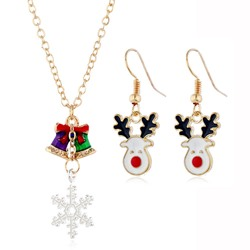 Oil Drip Necklace European Christmas Jewelry Sets