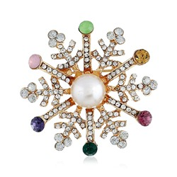Alloy European Christmas Snowflake Brooches