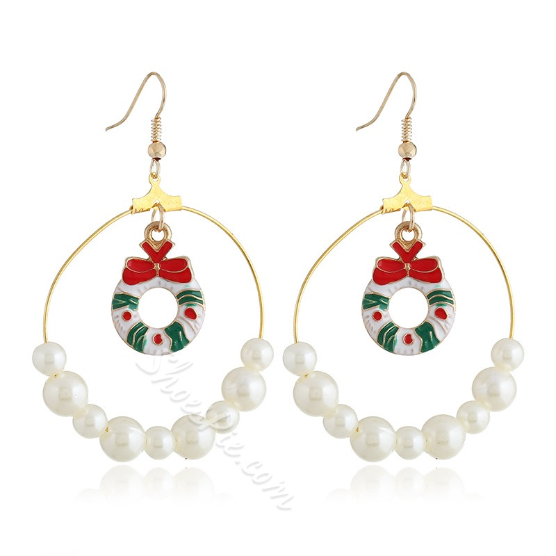 European Oil Drip Pearl Christmas Earrings