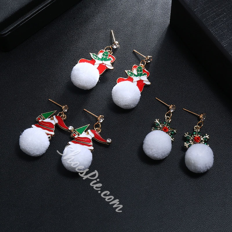 Diamante European Alloy Christmas Earrings