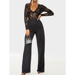 Plain Sexy Full Length Slim Lace Women's Jumpsuit