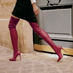 Shoespie Trendy Plain Pointed Toe Stiletto Heel Knee High Boots