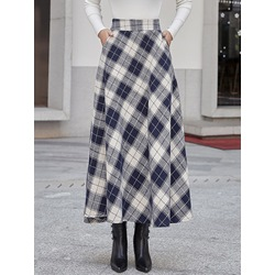 Plaid Mid-Calf A-Line England Women's Skirt