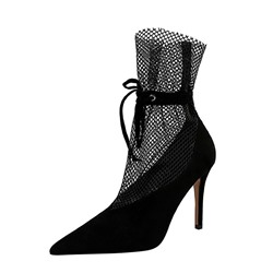 Shoespie Trendy Pointed Toe Stiletto Heel Hollow Ankle Boots,